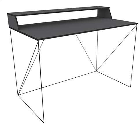 Walter Bureau Design Industriel Laqu/é Noir M/étal et MDF avec Etag/ère 120 x 63 x 89-75 cm