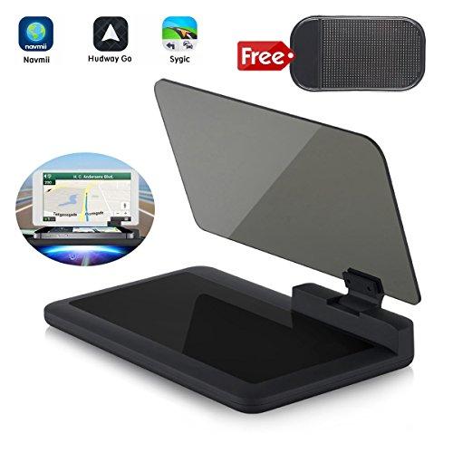 Navigation – Bysameyee Universal Car Dash Mount Cell Phone Holder Reflective Film, Vehicle HUD Smartphone Holder Mount for iPhone Android Phones (HUD Navigation) ()