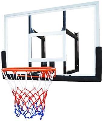 SUON-バスケットボール ゴール アダルト バスケットボールフープ 飛散防止バックボード バスケットボールネットセット シューティングフレーム アウトドア ウォールマウント 標準バスケットボールボード 110x75cm バスケットゴールセット