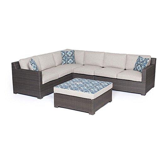 Hanover Metropolitan 5-Piece Seating Set Outdoor Furniture Silver Lining / Grey / Blue Kaleidoscope METRO5PC-G-SLV