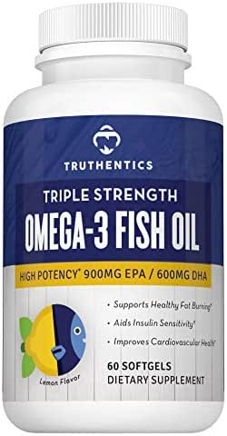 Omega 3 Fish Oil Triple Strength 2500mg High Potency Omega 3 Fatty Acids 900mg EPA 600mg DHA, Healthy Weight Metabolism Support, Joint Heart Brain Health, Lemon Flavor Burpless, Women Men, 60 Softgels