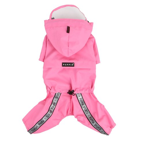 Authentic Puppia Race Track Hooded Jumpsuit, Pink, (Puppia Polyester Raincoat)