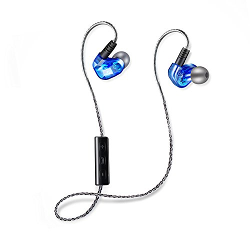 Wireless Headphones, Comfortable Earbuds For Sports, Running and Gym. Waterproof, Sweatproof Headset.Over Ear in Ear Noise Isolating Earphones for iPhone/Sony/Samsung(Blue)