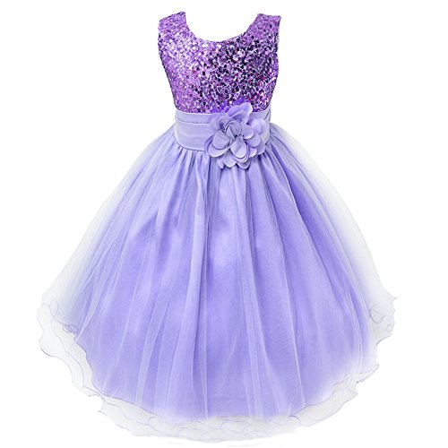 Pagent Dresses For Kids (Girls Wedding Dress Ball Gown Bridesmaid Tull Sequined Sleeveless Dress ,130(US 7),  Purple)