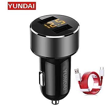 Cargador de Coche YunDAI, Cargador de Coche Dual USB Tipo C ...