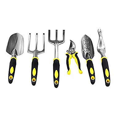 Songmics Garden Tool Set 6-Piece Garden Kit with Heavy Duty Cast-aluminum Heads & Ergonomic Handles UGGT006