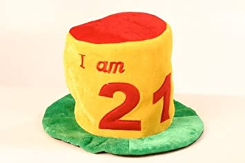Birthday Hat Ages 21 Tall Colourful Made From Soft Plush