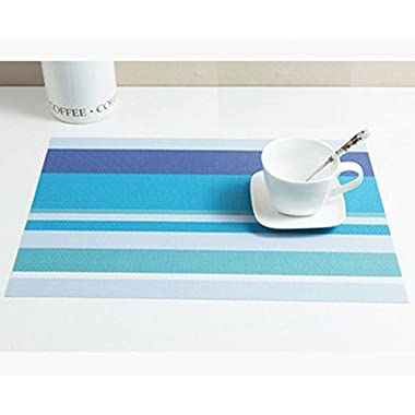 Lycium Set of 4 Striped Design PVC Heat Insulation Coasters, Stripe-Sky Blue