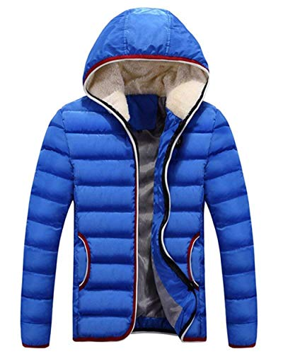 Winter Coat Jacket Jacket Warm Jacket Zipper Apparel Pockets Coat with Outwear Men's Himmelblau Outdoor Coat Hooded Front 4ZcqOndA