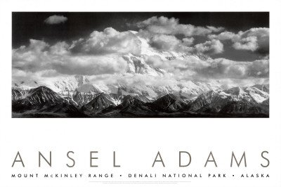 Mt. McKinley Range, Clouds, Denali National Park, Alaska, 1948 Art Poster Print by Ansel Adams, 36x24 Photography Art Poster Print by Ansel Adams, - Print Poster Best Seller