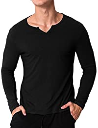 Men's Long Sleeve T-Shirts Casual Solid Round Neck Shirts Cotton Undershirts Tee Tops