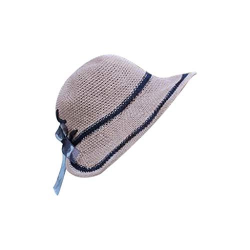 - Women Girls Foldable Bohemia Wide Brim Crocheted Linen Hat Beach Sun Visor Cap for Holiday Travel Khaki