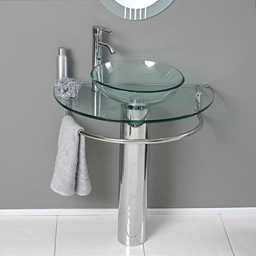 """24"""" Bathroom Pedestal Vanity Glass Vessel Sink Set"""