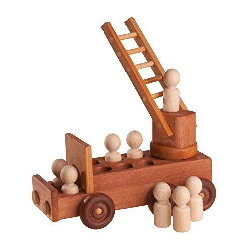 Fire truck with fire brigade, Wooden car, Baby toy