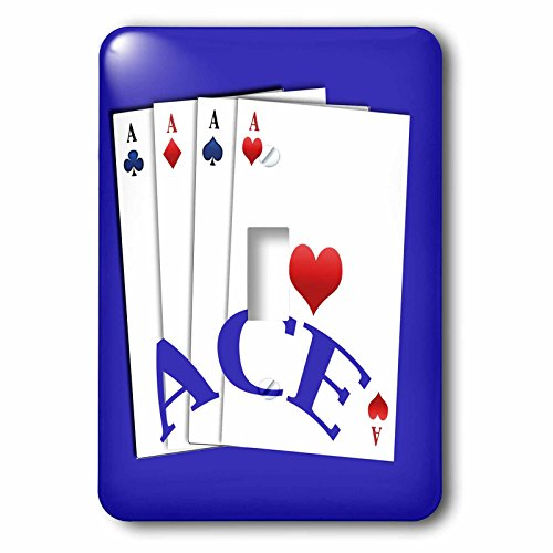 3dRose 777images Designs Graphic Design - Toys - Ace text art and the four aces clubs, spades, hearts, diamonds - Light Switch Covers - single toggle switch (lsp_262906_1)