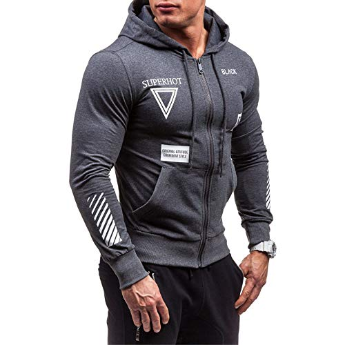 Mens Zip up Pullover Sweatshirts Fashion Long Sleeve Comfortable Muscle Sport Hoodie Jacket Outwear Tops (Gray, M)