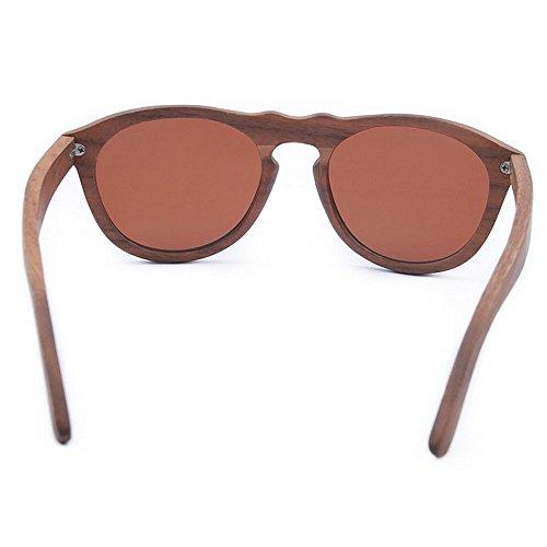 Uiophjkl Hecho Mano Mujer Gafas Playa Uv Espejados Puente Tac Lente Planos De Color Lentes Protección Conducción Personalidad Nariz Polarizado Marrón A Ondulada Sol Madera wxqfwTr