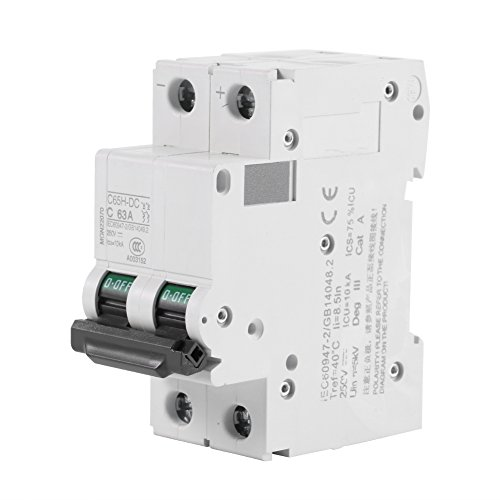 2P 250V Low-voltage DC Miniature Circuit Breaker For Solar Panels Grid System din rail mount(63A) by Walfront (Image #1)