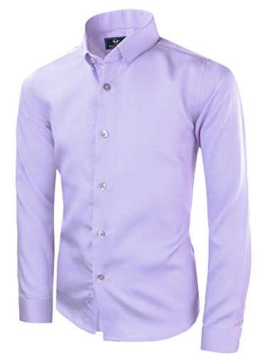Black n Bianco Boys' Signature Sateen Long Sleeve Dress Shirt (14, - Boys Shirt Dress Purple