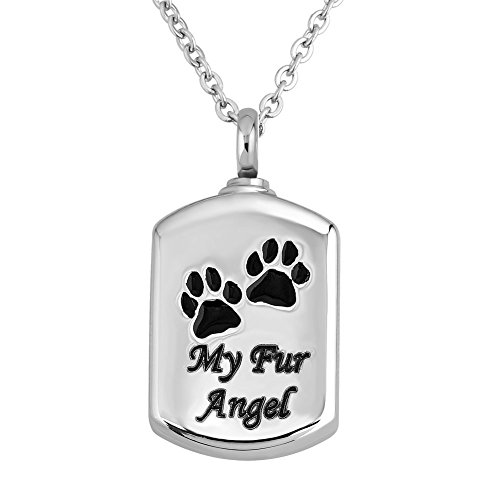 JewelryJo ~ My Fur Angel ~ Dog Tag Cat Paw Print Pendant Urn Necklace for Ashes Cremation Memorial ()
