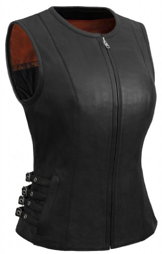 True Element Womens Side Buckled Zip Front Motorcycle Leather Vest (Black, Size L)