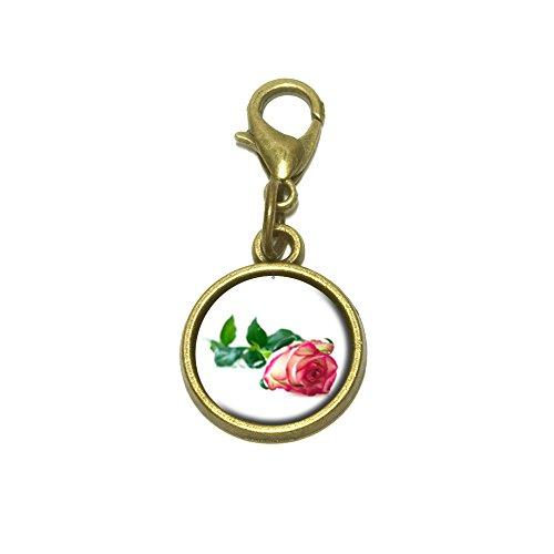 Long Stem Rose Multi Color Flower Cute Bracelet Pendant Charm