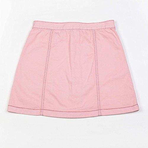 Dcontracte Pink Dooxi avec Femmes Mini Jupe Line lgante Denim Jupes Poches t A Avant Bouton 606T7rq