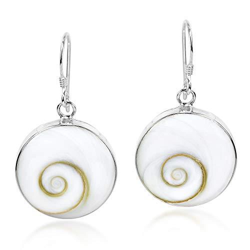 Elegant Round & Swirling 17 mm Shiva Shell .925 Sterling Silver Dangle Earrings