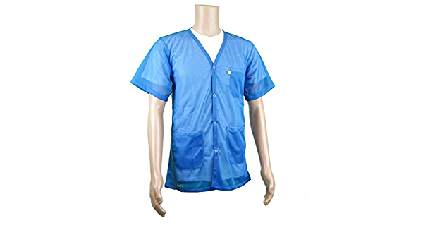2X-Large Lab Coat Length Anti-Static Smock from StaticTek Certified Level 3 Static Shielding Light Weight Comfort Fabric Light Blue ESD Shielding Short-Sleeve V Neck Jacket TT/_JKV8826LBSS