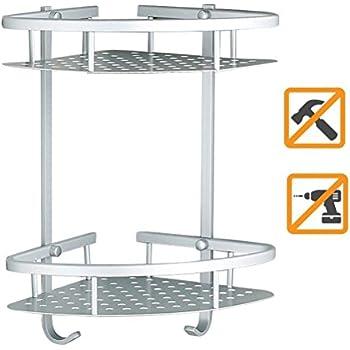 sendida bathroom corner shelf rack no drilling diy super strong glue adhering sd173 heavy duty and rustproof aluminum 2 tiers shower storage corner