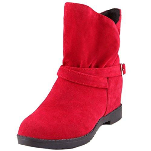 COOLCEPT Mujer Comodo Aumentar Tobillo Slouch Botines 236 Red