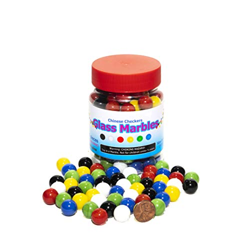 Super Value Depot Chinese Checkers Glass Marbles, Jumbo Set of 120 Marbles, 20 of Each Color, Size 9/16