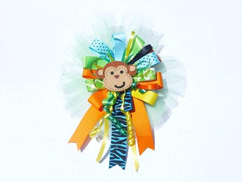 Fun Safari Zebra Jungle Baby Shower Birthday Corsage for Mom Monkey Baby shower Corsage (Jungle Theme Multicolor Extra large -Round with Monkey) ()
