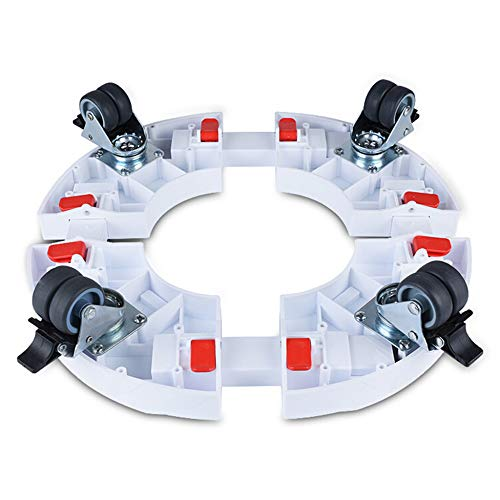 ZHIJIAB Washing Machine Trolley,Air Conditioning Casters,Moveable Round Home Appliance Adjustable Base Wine Rack,White-4Brake(Double-Wheel) ()