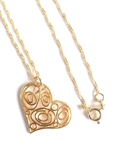 Heart-Charm-Necklace-Gold-Plated-Spiral-Chain-17-inches-43-cm-long-Valentines-gift-for-girlfriend