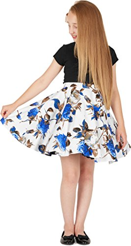 a99bce044 BlackButterfly Kids Vintage 50's Full Circle Girls Swing Skirt (Mercy -  White Blue, 7