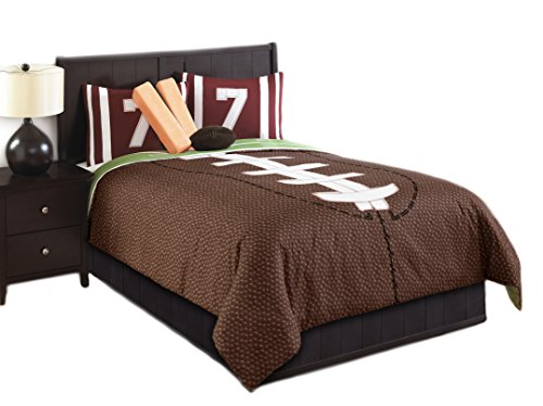 Football Comforter (Hallmart Kids 43666 6-Piece Touchdown Comforter Set, Full, Brown/Green)
