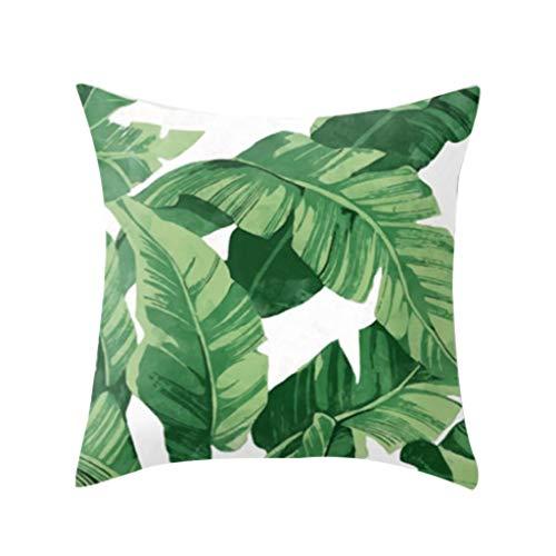 Dergo ☀Pillow Cover Tropical Plant Polyester Pillowcase Sofa Throwing pad Set Home Decoration (E)