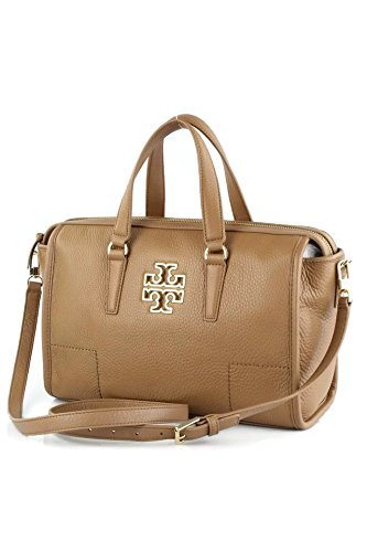 Tory Burch Leather Britten Satchel Bag - Bark