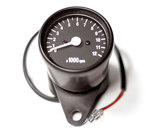Mini Motorcycle Tachometer Gauge w/ Black Face (1:4 Ratio) (Face Mini Tach)