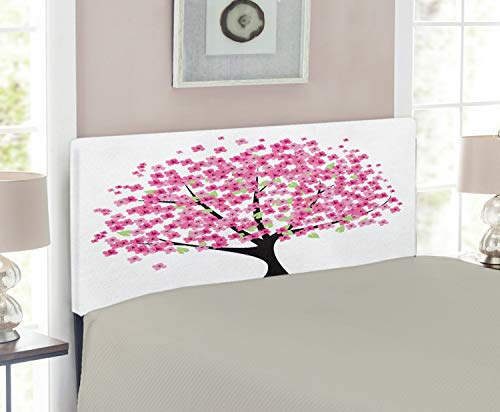 Headboard Twin Cherry Size (Ambesonne Nature Headboard for Twin Size Bed, Cherry Blossom Lonely Tree Asian Japanese Gardening Theme Sakura Blossoms, Upholstered Metal Headboard for Bedroom Decor, Pink Black White)