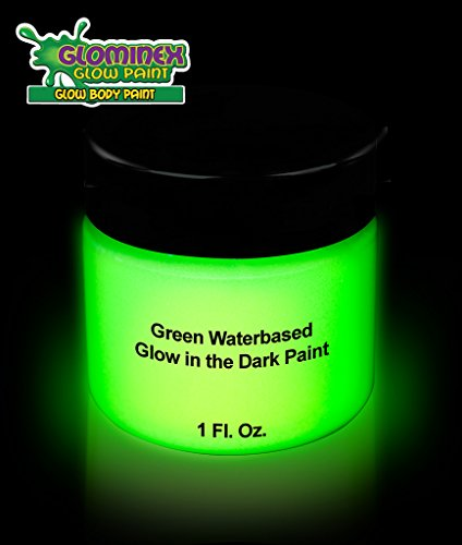 Glominex Glow AD388 in the Dark Face and Body Paint 1 oz Jar - Green (Glow In The Dark Face Painting)