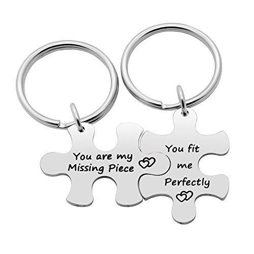 Valentine Key Chain Set Gifts You are My Missing Piece/You fit me Perfectly Pack of 2