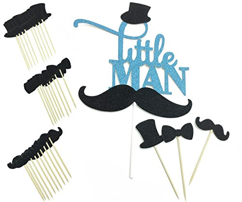 Blue Glitter Little Man Birthday Cake Topper Black Mustache Bowtie Hat Cupcake Picks for Baby Shower Party Favor Cake Decorations 31Pcs]()