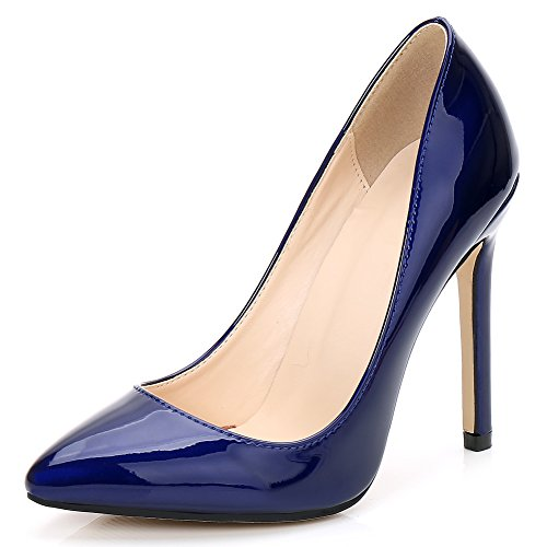 fereshte Women's Pointy Toe Slip On Stilettos High Heels Wedding Shoes Dress Pumps Ice Blue US 7