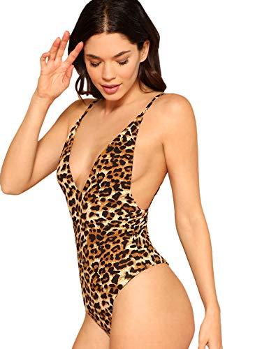 DIDK Women's Sleeveless V Neck Backless Sexy Leotard Bodysuit Leopard Print L -