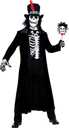 Smiffys Men's Voodoo Man Costume, Jacket, Stick, Hat with Mask, Hair and Necklace, Legends of Evil, Halloween, Size M, 30403 ()