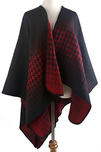 (QZUnique Women's Blanket Winter Houndstooth Knitted Cardigans Scarf Shawl Poncho Cape Black Red)