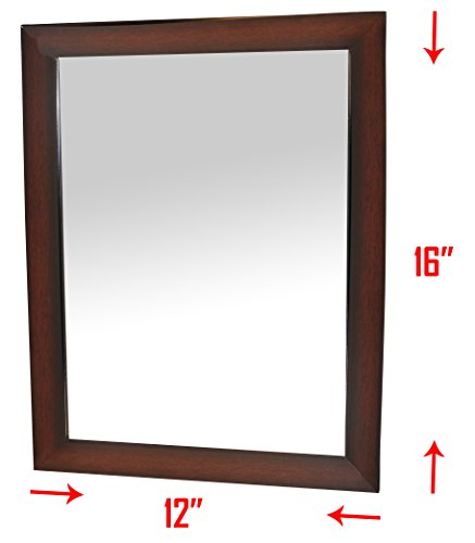Frame Large Bathroom Mirror (Large Frame Wall Mirror - Mirrored Rectangle for Hanging vertically or horizontally, 12 x 16 Inch Overall Size Wall Mirror for Bedroom, Bathroom –Brown)