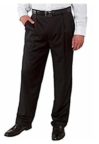 Kirkland Signature Men's Wool Pleated Dress Pant (34W X 30L, Charcoal Twill) (Stretch Signature Twill Pants)